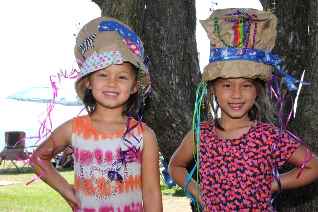 IMG_0772 Sisters Payton (5) & Jordan Isaacs (5), San Diego residents, in Rad Hatter hats